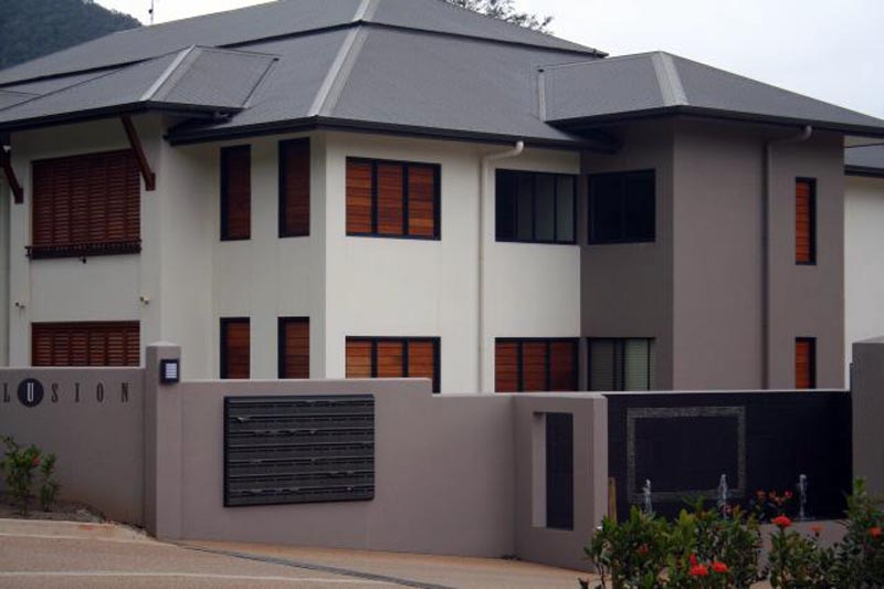 Water feature and commercial exterior painting after Cyclone Larry