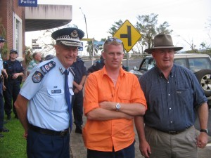 Clayton with the Police Commissioner during the Cyclone Larry Rescue